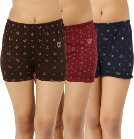 ESSDEE Printed Women's Brown, Maroon, Dark Blue Boxer Shorts