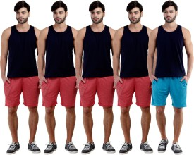 Dee Mannequin Self Design Men's Red, Red, Red, Red, Blue Sports Shorts