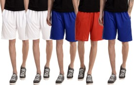 Dee Mannequin Solid Men's White, White, Red, Blue, Blue Basic Shorts