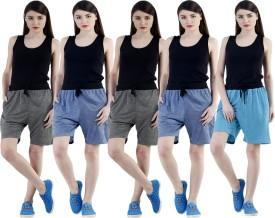 Dee Mannequin Self Design Women's Dark Blue, Dark Blue, Grey, Grey, Blue Sports Shorts