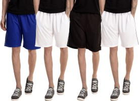 Dee Mannequin Solid Men's White, White, Blue, Black Basic Shorts
