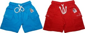 PLIPSH Printed Boy's Blue, Red Basic Shorts