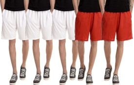 Dee Mannequin Solid Men's White, White, White, Red, Red Basic Shorts