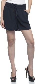One Femme Solid Women's Dark Blue Basic Shorts