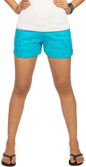 Idiot Theory Turquoise Printed Women's Basic Shorts