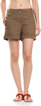Cottonworld Brown Solid Women's Basic Shorts