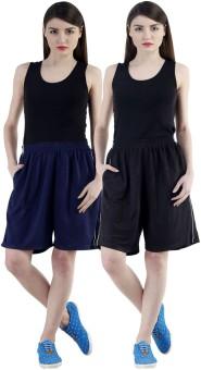 Dee Mannequin Self Design Women's Dark Blue, Black Sports Shorts