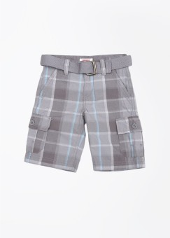 Levis Kids Checkered Boy's Grey, Blue Cargo Shorts