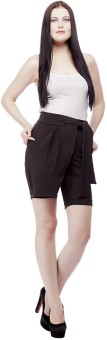 Ragdoll Solid Women's Black High Waist Shorts