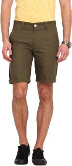 Ennoble Solid Men's Green Basic Shorts