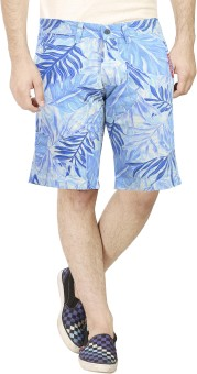Dolce Hugo Printed, Self Design, Graphic Print, Floral Print Men's Blue Basic Shorts, Beach Shorts