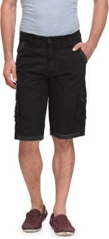 Wear Your Mind Solid Men's Black Cargo Shorts