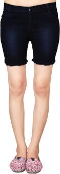 Parisha Solid Women's Dark Blue Basic Shorts, Beach Shorts
