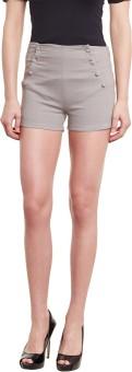 Diachic Solid Women's Grey High Waist Shorts