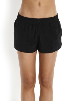 Speedo Solid Women's Black Beach Shorts, Swim Shorts