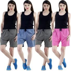 Dee Mannequin Self Design Women's Dark Blue, Grey, Grey, Pink Sports Shorts