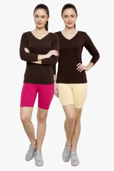 Softrose Solid Women's Pink, Beige Cycling Shorts