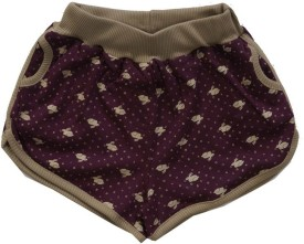 Earth Conscious Floral Print Baby Girl's Maroon Running Shorts