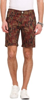 Ennoble Printed Men's Maroon Basic Shorts