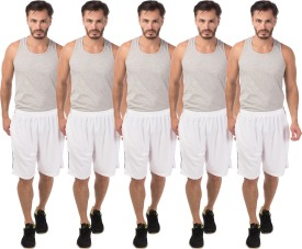 Meebaw Self Design Men's White, White, White, White, White Sports Shorts