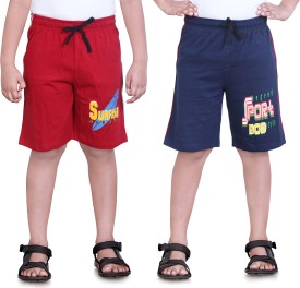 Dongli Printed Boy's Red, Dark Blue Sports Shorts