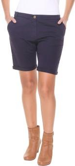 Alibi By Inmark Solid Women's Dark Blue Basic Shorts