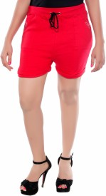 Feminine Solid Women's Red Running Shorts