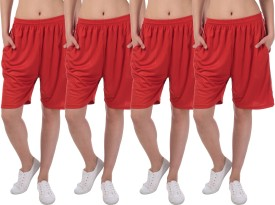 Gaushi Solid Women's Red, Red, Red, Red Sports Shorts