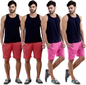 Dee Mannequin Self Design Men's Red, Red, Pink, Pink Sports Shorts