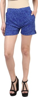 Sakhi Sang Royal Blue Jacquard Printed Women's Basic Shorts