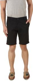 Spunk Solid Men's Black Chino Shorts