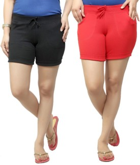 By The Way Solid Women's, Girl's Black, Red Basic Shorts, Beach Shorts, Cycling Shorts, Night Shorts