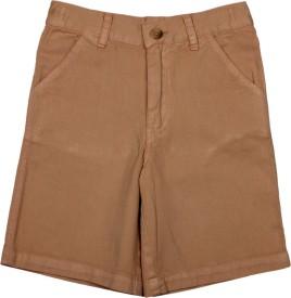 Apricot Kids Printed Boy's Brown Basic Shorts