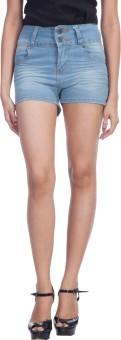TrendBAE Light Blue Solid Women's Denim Denim Shorts - SRTE68J9MESFWGER