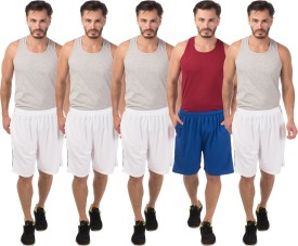 Meebaw Self Design Men's White, White, White, White, Blue Sports Shorts