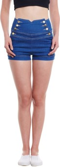 Diachic Solid Women's Denim Blue High Waist Shorts