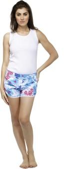 Heart 2 Heart Printed Women's White Beach Shorts