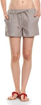 Cottonworld Brown Striped Women's Basic Shorts