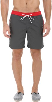 Zobello Solid Men's Red, Grey Swim Shorts