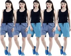 Dee Mannequin Self Design Women's Dark Blue, Dark Blue, Dark Blue, Blue, Blue Sports Shorts