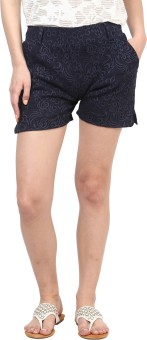 Sakhi Sang Navy Blue Jacquard Printed Women's Basic Shorts