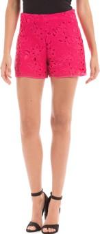 Shuffle Solid Women's Red High Waist Shorts