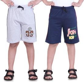 Dongli Printed Boy's Grey, Dark Blue Sports Shorts