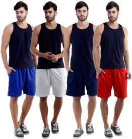 Dee Mannequin Self Design Men's White, Red, Dark Blue, Blue Sports Shorts