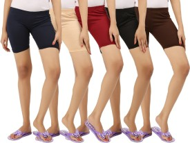 ESSDEE Solid Women's Maroon, Black, Brown, Dark Blue, Beige Cycling Shorts