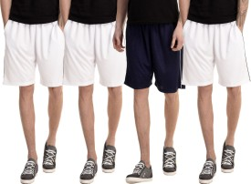 Dee Mannequin Solid Men's White, White, White, Dark Blue Basic Shorts