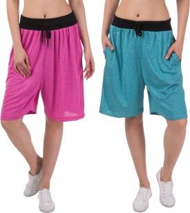 Gaushi Solid Women's Pink, Blue Sports Shorts