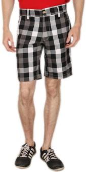 Blimey Checkered Men's Black, White Chino Shorts