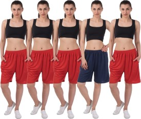 Meebaw Self Design Women's Red, Red, Red, Red, Dark Blue Sports Shorts