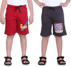 Dongli Printed Boy's Red, Multicolor Sports Shorts